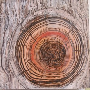 Rachel Stewart - Woodburning with oil paint