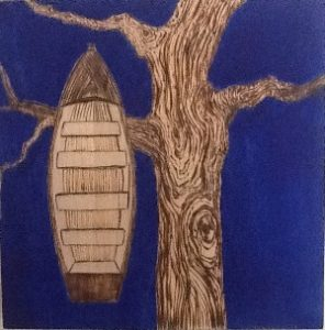 Rachel Stewart - wood burning boat and tree