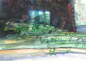 josette-urso-mikes-mow-around-2014-watercolor-9inx12in