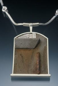 "Sterling, concrete, steel, ebony, rust, ink, acrylic 2 1/4"" x 1 1/2"" x 1/4"" 2005"