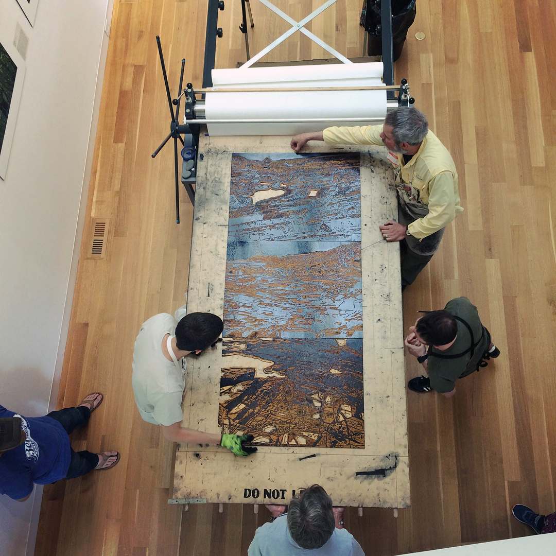 A wood block press of 4 x 8 feet will be part of BIG INK exhibit