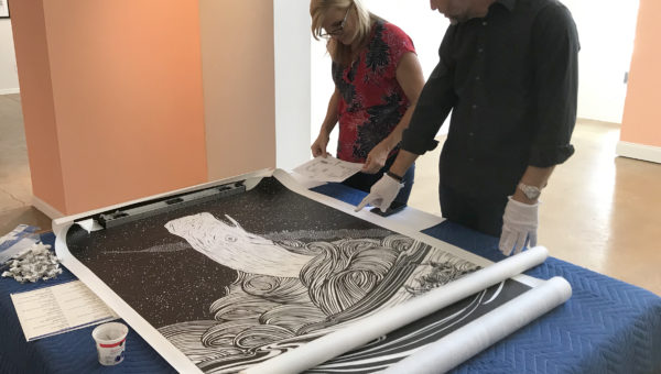 Large format woodblock print